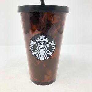Starbucks Tortoise Shell Tumbler Black Brown Cold